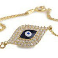 KARA ACKERMAN ? Kara Ackerman's <i>GemGirls</i> Evil Eye Enamel and Diamond Chain Bracelet