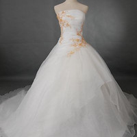 A-line Strapless Sleeveless Cetteau Train Satin Organza Wendding Dress With Embroidery Beading Free Shipping