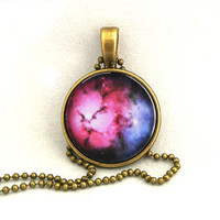 10% SALE - Necklace Copper, Trifid Nebula, Galaxy Jewelry, Universe, Space, Pendant Necklaces,Constellation,Gift For Her