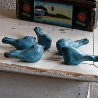 Set of 5 Blue Birds by redhotpottery on Etsy