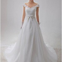 Elegant Sweetheart Chapel Train Organza Wedding Dress / Gown