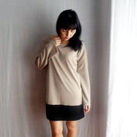 Oversize sweater dress - beige black sweater long sleeve dress one size fits all jumper dress