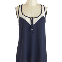 Lacy Day In Tank in Navy | Mod Retro Vintage Short Sleeve Shirts | ModCloth.com