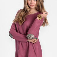 First Move Sequined Elbow Patch Sweater in Mauve - $52.00: ThreadSence, Women&#x27;s Indie &amp; Bohemian Clothing, Dresses, &amp; Accessories