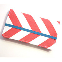 Coral Chevron Iphone - Cell Phone Wallet - Chevron Print - Coral and White - Smart Phone Wallet - Custom Size
