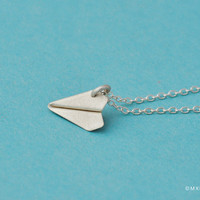 065 Tiny Paper Airplane II Pendant/Necklace by mxmjewelry on Etsy