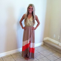 Sequins Coral and Taupe Color Block Hi Lo Maxi Dress
