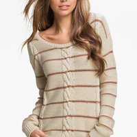 Love by Design Metallic Stripe Cable Sweater | Nordstrom