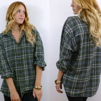 Vtg 90s Green Plaid Oversize GRUNGE Flannel One Size