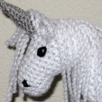 Plush Fantasy White Sparkle Unicorn With Silver Horn Crocheted