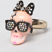The Film Noir Skull Girl Sketch Ring