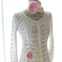 Free people romantic shabby sweater, country cowgirl chic, vintage rose doily, rustic farmgirl  top, romantic boho chic sweater