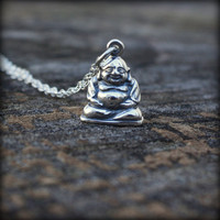 Sterling Silver Buddha Necklace - Sterling Silver Happy Buddha Charm . Yoga Jewelry . Meditation .