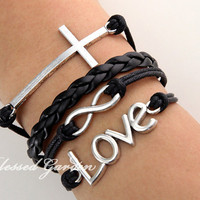 Infinity bracelet, cross bracelet, love bracelet,black leather, infinity love, god's gift, antique silver,wrist candy, christmas gift