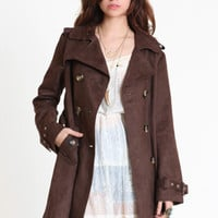 Cocoa Craving Suede Trench Coat - $90.00 : ThreadSence.com, Your Spot For Indie Clothing & Indie Urban Culture