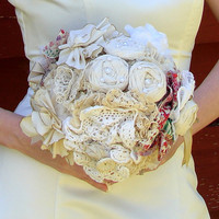Weddings Bridal Bouquet Fabric Flowers Vintage Fabric by AutumnArt