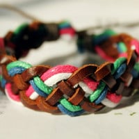 Cute Christmas Gift Multicolor Friendship Fall/Autumn Braid Cotton Rope Brown Leather Weaved Wrap Adjustable Bracelet W-02