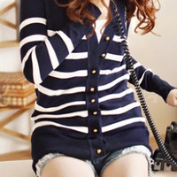 OASAP - Striped Cardigan with Embroidery - Street Fashion Store