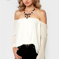 LULUS Exclusive Landslide Off-the-Shoulder Ivory Top