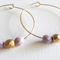 Sale 10% - Gold Beaded Hoop Earrings, Gift for Her,   (E-158G)