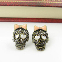 Cool betsey johnson Black Crystal Pink Bow Skeleton Skull Stud Earrings