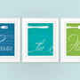 Dining Room Art Prints - Fork, Knife & Spoon in Blues / Green - Set of 3 - Savor the Flavor - 8x10 Dining Room or Kitchen Wall Art / Decor