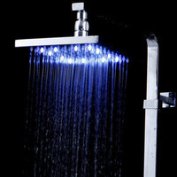 10''Square Water Top Spray Shower Head Blue Waterfall Showerhead LED Light A6