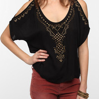 Ecote Embellished Open-Shoulder Blouse