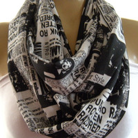 Daily News..Black and white..Newspaper print...Necklace scarf..Infinity scarf..Tube version..Vintage fabric