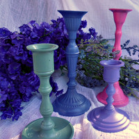 CandleStick Grouping Set of Four Shabby Chic by shellibeandesigns