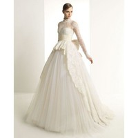 2013 Long Sleeve Chapel Train Lace Winter Wedding Dresses - Star Bridal Apparel