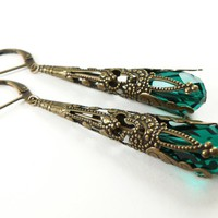 Emerald Green Earrings Brass Filigr.. on Luulla