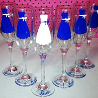 6 Wedding Champagne Flutes, Persona.. on Luulla