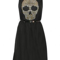 Sleeveless Studs Skull Dip Hem Dress - by Pilot