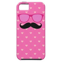 Sunglasses Mustache Hearts Pattern iPhone 5 Case from Zazzle.com
