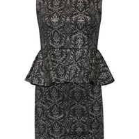 Baroque Print Peplum Dress - by Pilot
