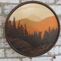 "Vintage Retro Western Mountain Fall Ski Lodge Circle 12"" lithograph 1978 Wall Picture"