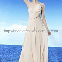 One shoulder White Beach Wedding Dress Formal Evening Dress