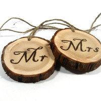Wedding. Mr and Mrs Rustic Wedding Signs.  Set of two custom keepsakes.