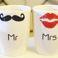 Lips and Mustache Personalized wedding mr by TimelessCreationsLLC