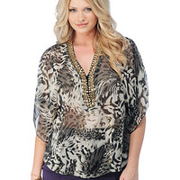 Plus Size Embellished Leopard Sheer Top | Sexy Clothes Womens Sexy Dresses Sexy Clubwear Sexy Swimwear | Flirt Catalog