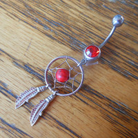 Belly button ring - Dream catcher with red gem
