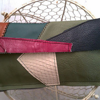 Rustic Leather Clutch Bag Purse OOAK One Of A Kind Patchwork And Geometry