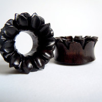 7/8 inch (22mm) Gauge Organic Hand Carved Black Areng Wood Lotus Tunnel Plugs by Sacred Gun Moll on Etsy