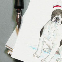 Custom Portrait - Original Christmas Watercolour Pet Portrait Illustration - Pack of 20 Chrismas Cards