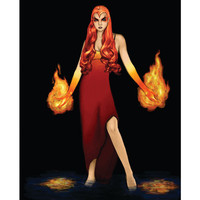 "PRINT. 8x10"". Pyro woman burns balls of flame from her hands in the dark."