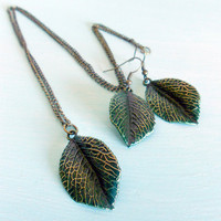 DAINTINESS Autumn Leaf Necklace & Earrings Matching Set in Antique Brass and Verdigris Gilder's Paste from Dryad Dreams