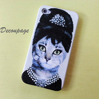 Kitty Cat Audrey Hepburn - iPhone 4 Case , iPhone 4s Case , iPhone 3g , 3gs , iPhone Case