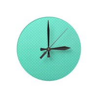 Mint Green And White Polka Dots Round Clocks
