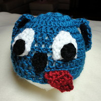 Puppy Dog Baby Hat Handmade Crocheted Newborn to 3 Months Blue